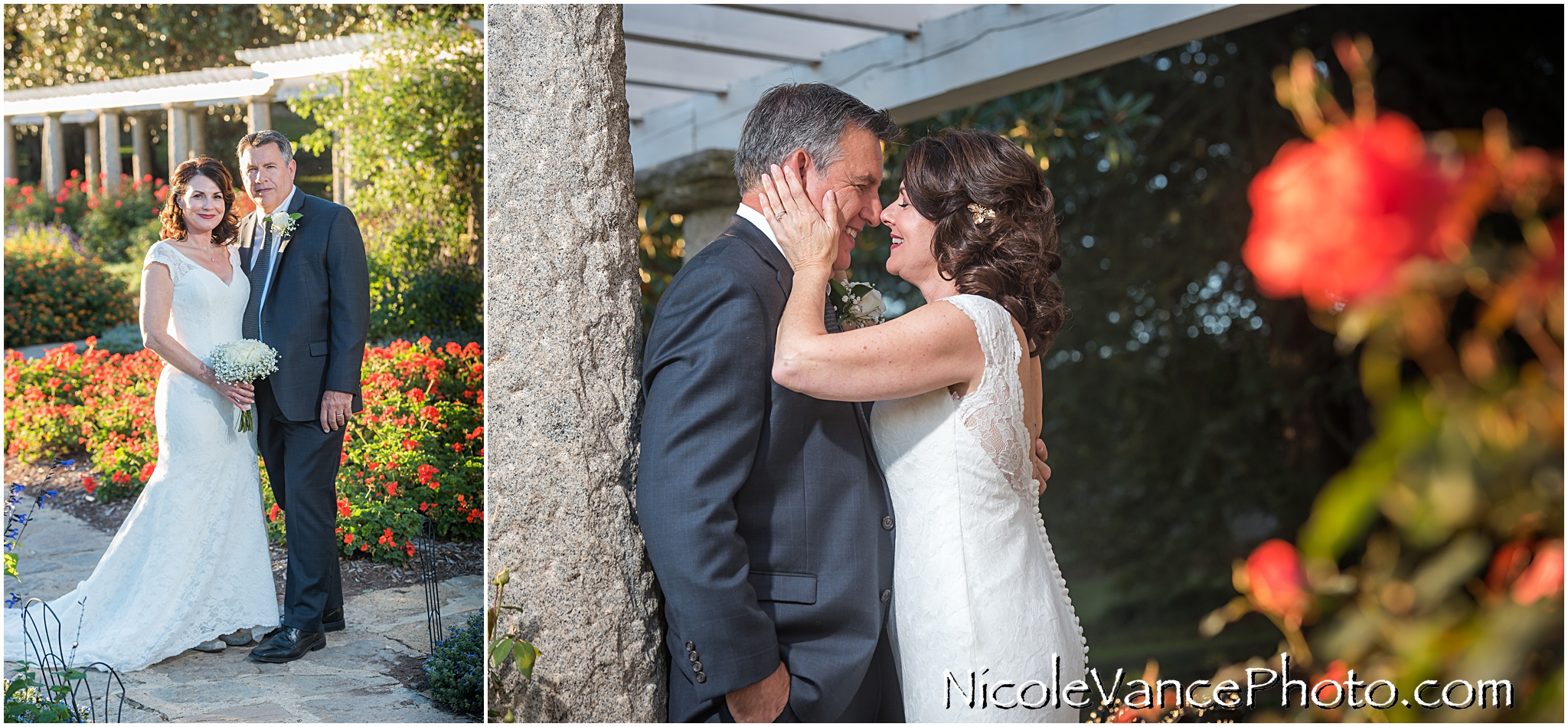 The bride and groom pose in the Italian Garden at Maymont Park in Richmond, VA.